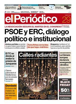 La portada de EL PERIÓDICO del 29 de noviembre del 2019.