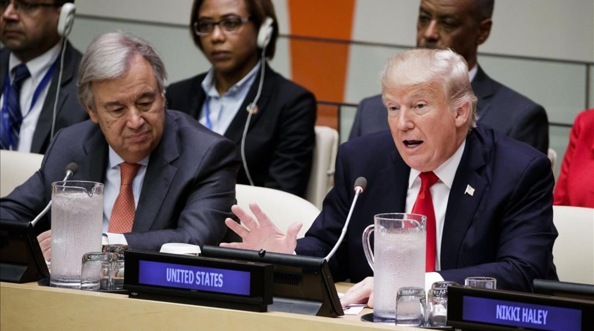El presidente de EEUU, Donald Trump, y el secretario general de la ONU, Antonio Guterres (izquierda), en la sede de la ONU.