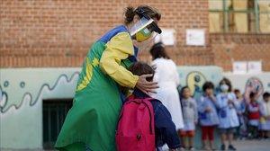 Primer día de clase en un colegio público de Madrid.