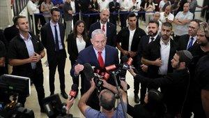 El primer ministro israelí, Benjamín Netanyahu, tras la disolución del Parlamento.