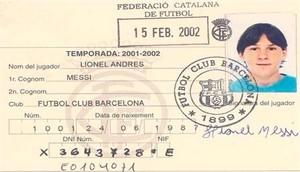 Primera ficha de Lionel Messi como jugador del Barça