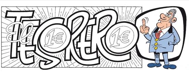 La primera página deEl tesorero, el álbum número 200 de Mortadelo y Filemón
