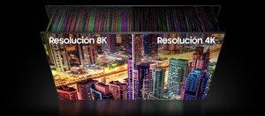 Diferencia en la visualización de 4K y 8K, en un panel de Samsung.