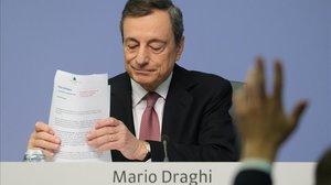 El presidente del Banco Central Europeo, Mario Draghi, en la rueda de prensa posterior a la reunión del Consejo de Gobierno del BCE.