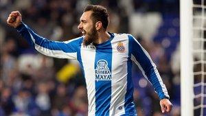 Borja Iglesias celebra un gol con el Espanyol en la pasada Liga.