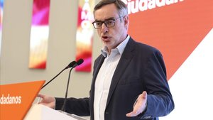 El número dos de Ciudadanos, José Manuel Villegas, en la rueda de prensa.