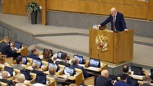 Sesión plenaria de la Duma donde se han propuesto las enmiendas constitucionales, en Moscú.