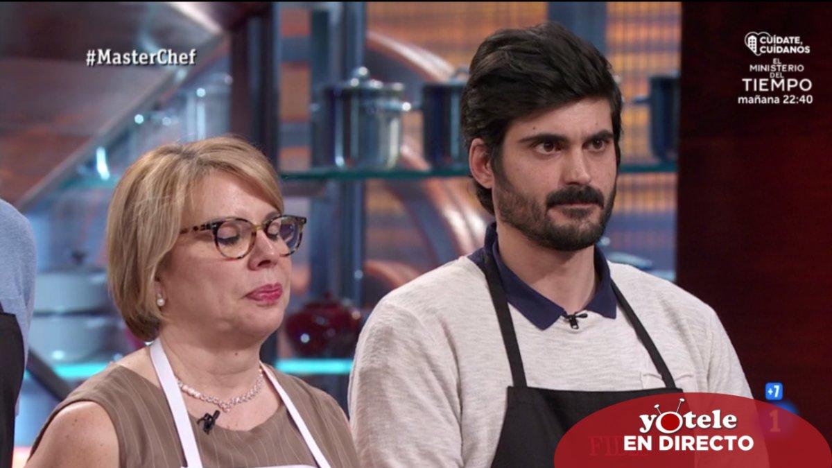 Teresa y Fidel en la prueba de expulsión de 'Masterchef 8'.