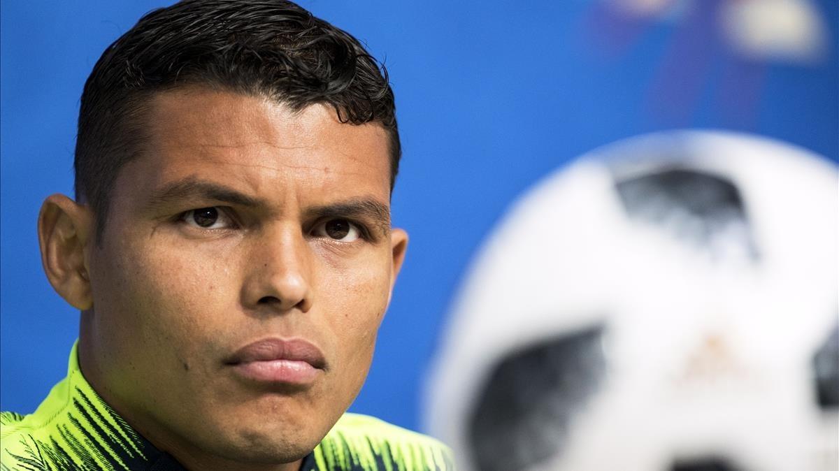 Thiago Silva, en la rueda de prensa antes del partido contra Costa Rica.