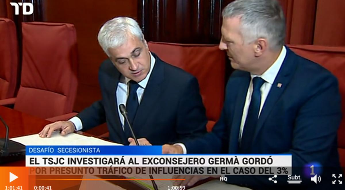 Una captura del 'Telediario' en la que puede leerse el titular de la noticia sobre Germà Gordó con el antetítulo desafío secesionista.