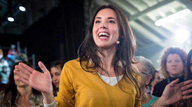 La portavoz de Unidos Podemos en el Congreso, Irene Montero, en el acto La vida, en el centro