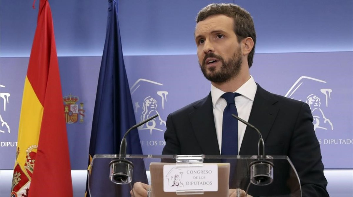El presidente del PP, Pablo Casado, en la rueda de prensa del Congreso de los Diputados.