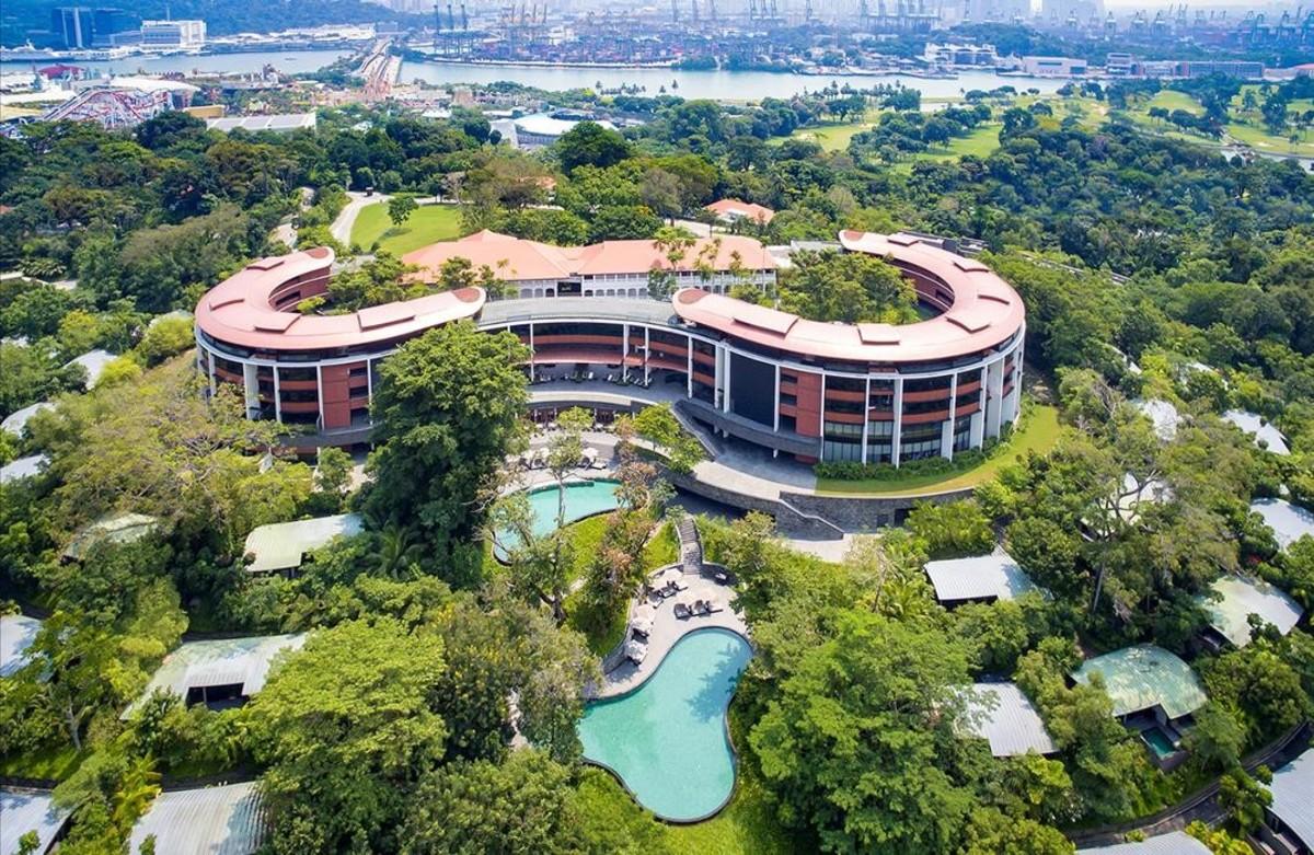 Vista aérea del Hotel Capella, en el que se reunirán Trump y Kim.