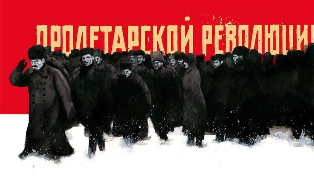 Un Lenin gegant per a la revolució bolxevic de John Reed