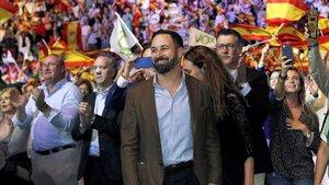 El presidente de VoxSantiago Abascaldurante el acto que la formacion celebra hoy en el Palacio de Vistalegre de Madrid.