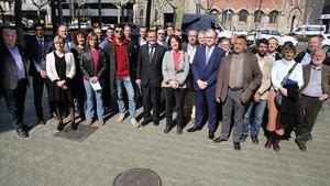 Integrantes de la candidatura independentista a la Cambra de Comerç, apoyada por la ANC.