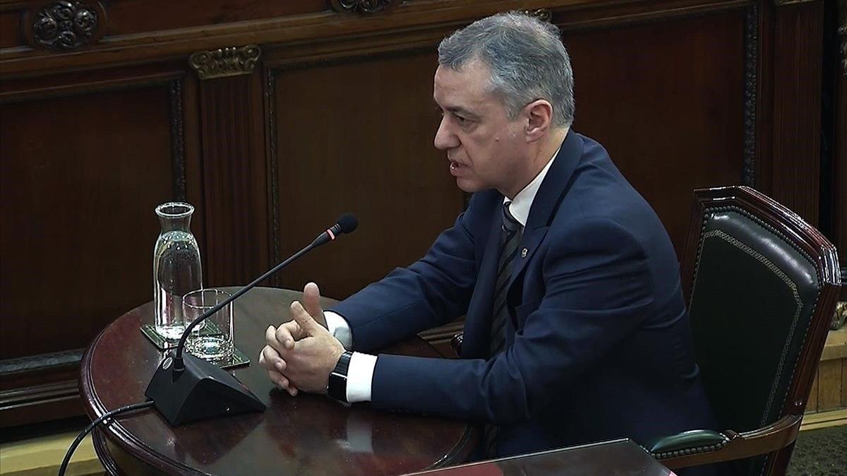 Íñigo Urkullu, en un momento de su declaración como testigo en el juicio del procés.
