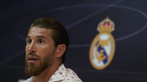 Sergio Ramos durante la rueda de prensa de esta tarde en Valdebebas.