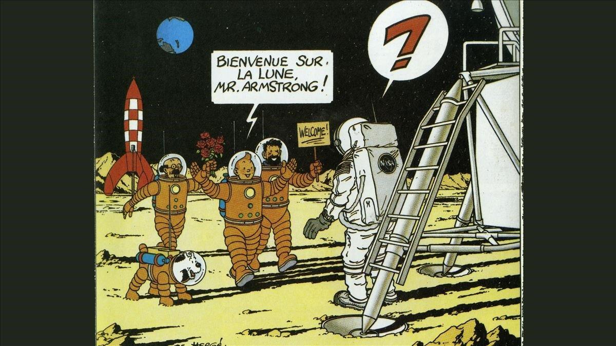Tintín recibe a un sorprendido Armstrong recién llegado a la Luna.