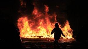 Disturbios del miércoles en Barcelona, en Marina-Gran Via.