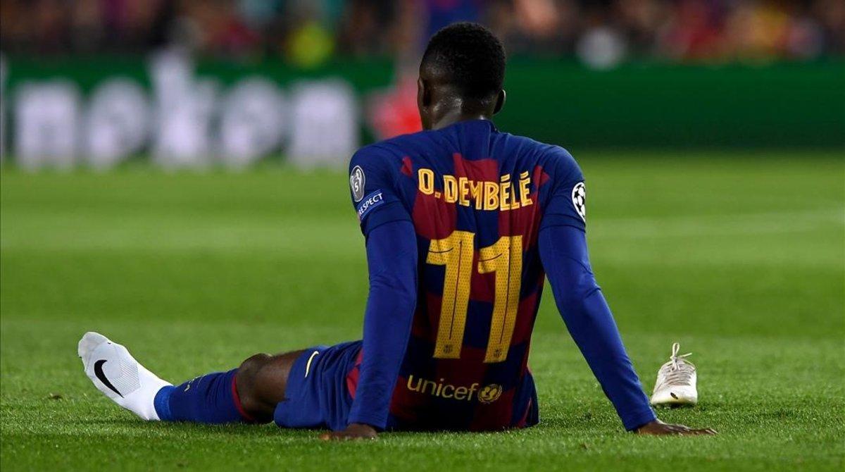 Ousmane Dembélé, roto durante el partido de Champions frente al Borussia Dortmund, el 27 de noviembre.