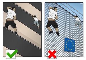 La viñeta deTjeerd Royaards sobre el héroe de París que retrata la hipocresía europea sobre la inmigración.
