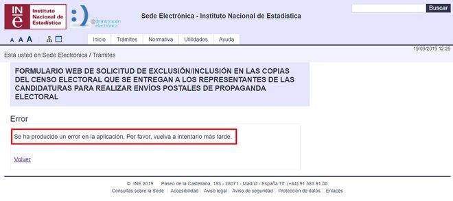 Pàgina d'error del procés de baixa de la propaganda electoral al web de l'INE