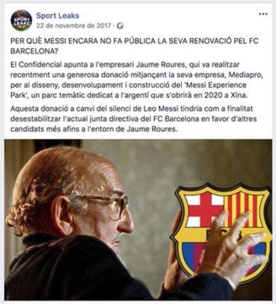 mensaje pagado por el FC Barcelona contra Messi y Roures