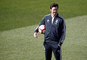 Santiago Solari durante el último entrenamiento del Madrid.
