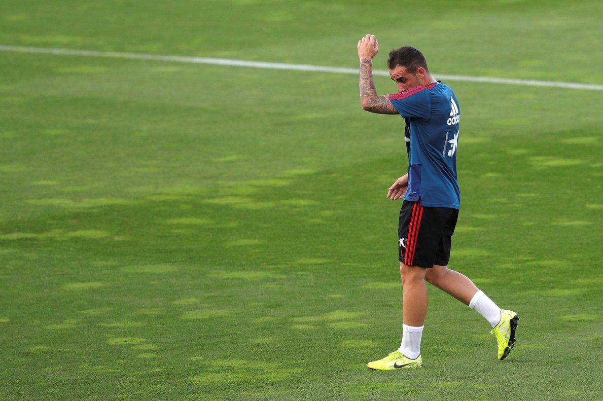 El internacional Paco Alcácer durante un entrenamiento de la selección española.