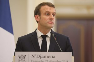 Emmanuel Macron holds a press conference at the presidential palace in N Djamena.French president is on visit to meet with Chadian president and with soldiers from the Barkhane mission in Africa s Sahel regionPhoto by Ludovic MARINAFP