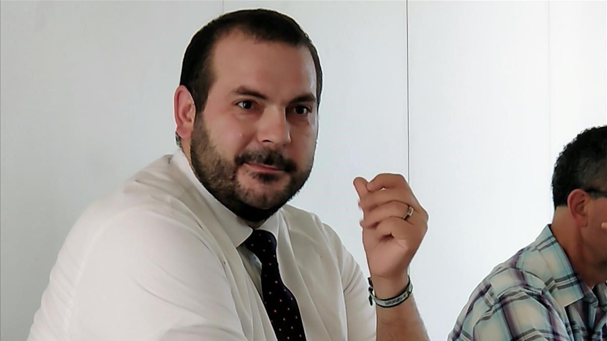 El alcalde de Mataró, David Bote, durante la comparecencia sobre seguridad del pasado lunes.
