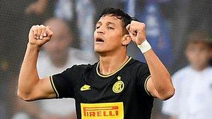 Alexis Sánchez celebra su gol al Sampdoria.