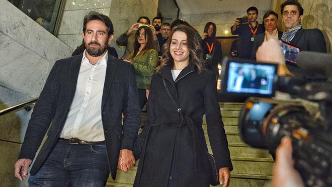 Arrimadas celebra la victoria de Ciutadans en las elecciones al Parlament del 2017.