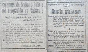 Dos avisos aparecidos en diferentes diarios de la prensa valenciana en abril de 1939 conminando a los soldados del ejército de la República a presentarse en campos de concentración.