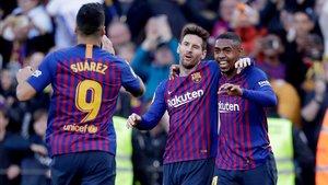 El festejo del gol de Messi ante el Espanyol.