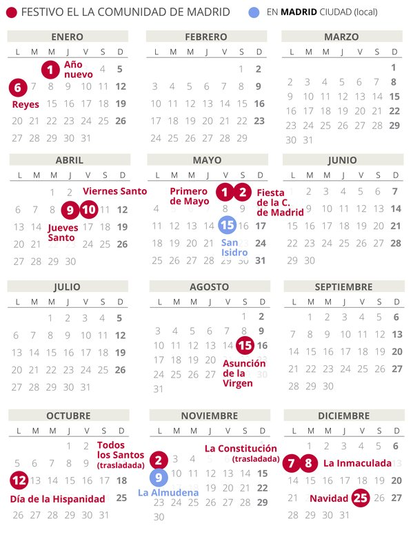2020 Calendario Laboral.Calendario Laboral Madrid 2020 Con Todos Los Festivos