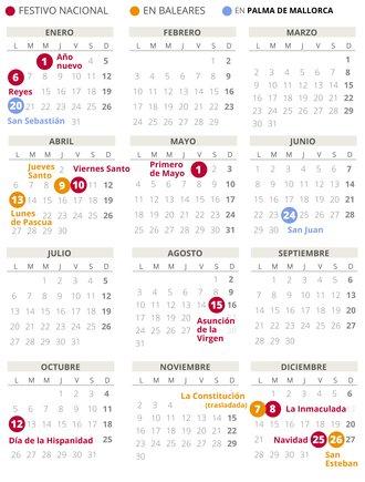 Calendario laboral de Palma de Mallorca del 2020.