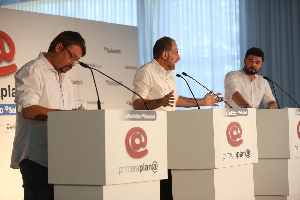 Cara a cara entre Xavier Domènech y Gabriel Rufián, en el foro de debate Primera Plana.