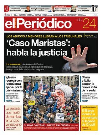 La portada d'EL PERIÓDICO del 24 de març del 2019