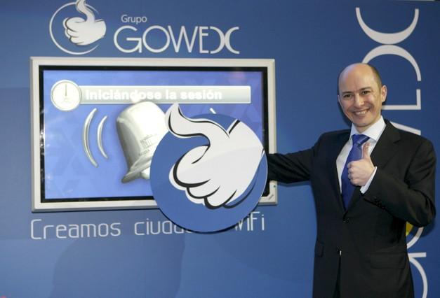 El consejero delegado y fundador de Gowex, Jenaro García, durante el toque de campana que marcó el inicio de la cotización de la compañía en el Mercado Alternativo Bursátil (MAB).