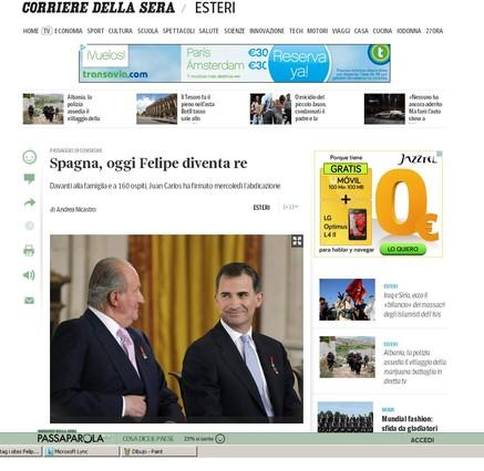 Capçalera Corriere della Sera es fa ressò de la coronació de Felip VI.