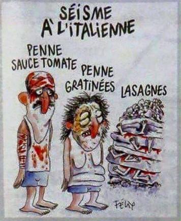 Polèmica per la portada de 'Charlie Hebdo' sobre el terratrèmol d'Itàlia