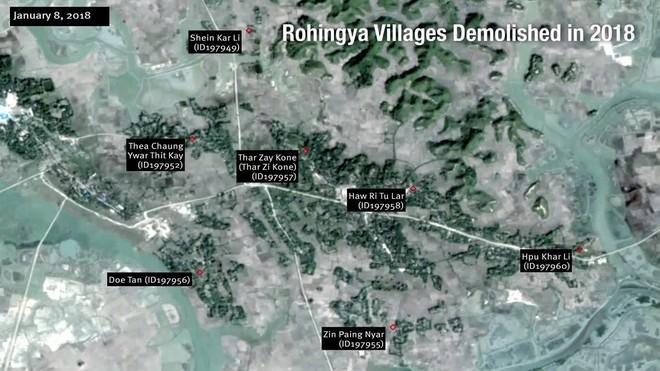 Animación compuesta por una serie de imágenes satelitales que revelan la destrucción de decenas de aldeas rohingyas. Muestra la situación de varios pueblos en el municipio de Maungdaw entre el 8 de enero y el 19 de febrero de 2018.