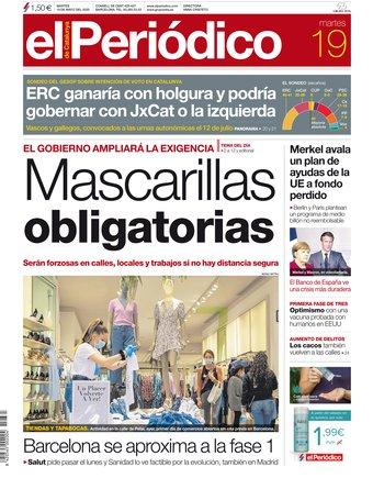 La portada d'EL PERIÓDICO del 19 de maig del 2020