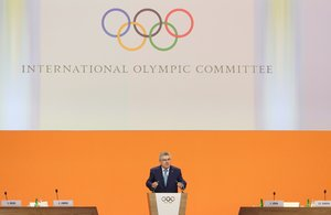 FILE PHOTO: International Olympic Committee (IOC) President Thomas Bach opens the 134th session during which the host city for the 2026 Winter Olympic Games will be decided in Lausanne, Switzerland, June 24, 2019. REUTERS/Denis Balibouse/File Photo