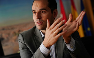 El candidato de Ciudadanos al Gobierno de Madrid, Ignacio Aguado, en una entrevista.