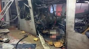 Imágenes del diario 'Le Soir' del interior del metro tras el atentado de Bruselas.