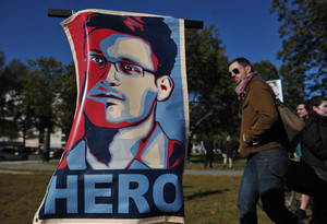Imatge darxiu duna manifestació favorable a lexagent de la NSA Edward Snowden, ara establert a Moscou.