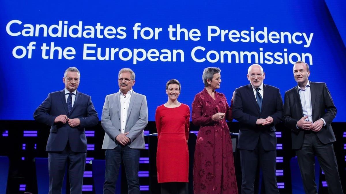 Jan Zahradil,Nico Cue,Ska Keller,Margrethe Vestager,Frans Timmermans yManfred Weber candidatos a suceder en la presidencia a Jean Claude Juncker.